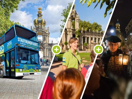 3 für 1 -  Erlebnis Tour:  Stadtrundfahrt Hop on Hop off, Nachtwächter, Live-Stadtführung - Ermäßigte(r)