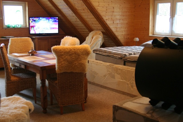 Zimmeransicht mit TV im Dachgeschoss