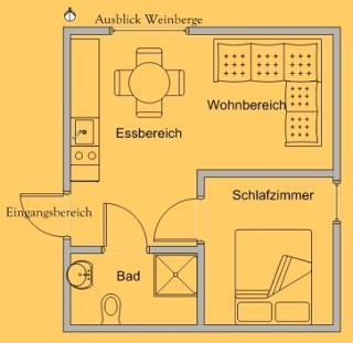 Grundriss der Ferienwohnung / Urheber: Lutz Gerhardt / Rechteinhaber: © Lutz Gerhardt