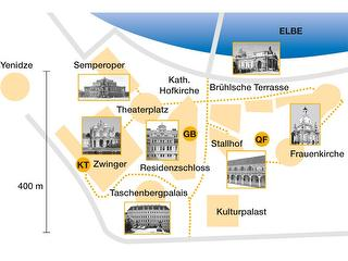 Karte vom Historischen Stadtzentrum: Lage der Sehenswürdigkeiten und der Treffpunkte / Urheber: Initialverlag Dresden / Rechteinhaber: © Erlebnistouren Dresden Renger