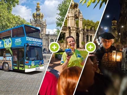 3 für 1 - Erlebnis Tour: Stadtrundfahrt Hop on Hop off, Nachtwächter, Live-Stadtführung - Erwachsene(r)