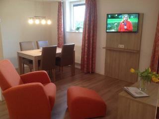 Modernes Wohnzimmer mit Essecke und Sofa und Schlafcouch und Sessel mit Couchtisch