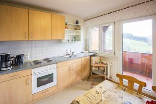 Küche mit zugang zum Balkon und Blick ins Tal