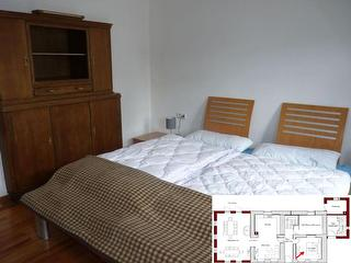Im EG haben wir ein Schlafzimmer eingerichtet. Diese Wohnung ust besonders bei älteren Gästen beliebt