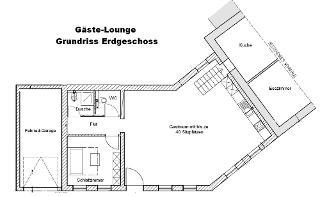 Grundriss des Ergeschosses der Gäste-Lounge