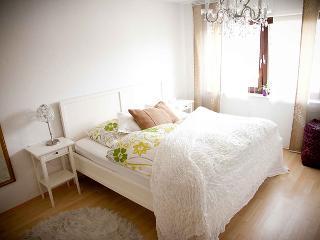 Helles und modernes Schlafzimmer mit Rolläden