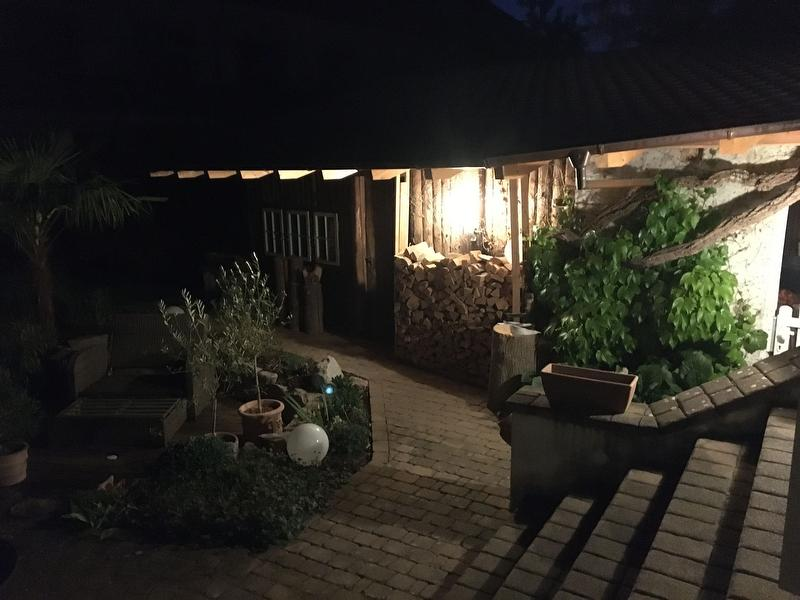 Garden sheds at night