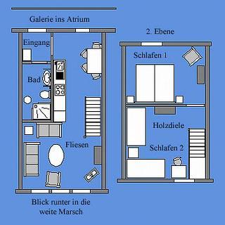 Der Deichhof - Maisonette für bis zu 4 Pers.: Grundriss