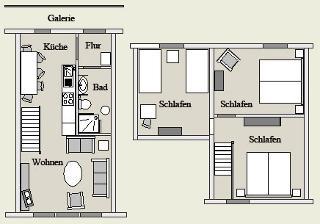 Maisonette - 6 Personen   -  Der Deichhof