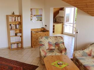 Wohnzimmer - Bücherschrank und Arbeitsbereich mit Telefon, Haus Sonntag, Ferienwohnung
