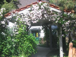 Blumenumrankte Pergola zum Eingang