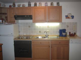 Küchenzeile mit Spülmaschine, großem Kühlschrank, Tiefgefrierfach, komplette Geschirrausstattung
