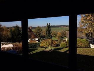 Herbstausblick vom Wohnzimmer der Berghütte