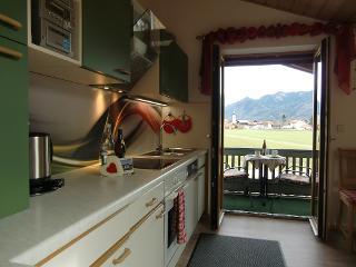Freie Sicht vom Wohnraum mit Küchenzeile