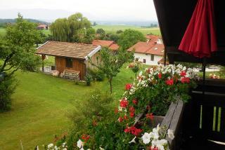 Aussicht vom Balkon auf die Berchtesgadener Berge