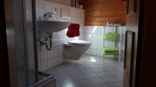 Badezimmer mit Dusche und WC, Haartrockner, Toilettenartikel und Pantoffel