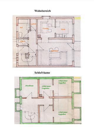 Grundriss der 2 Etagen der Ferienwohnung Haus Monika