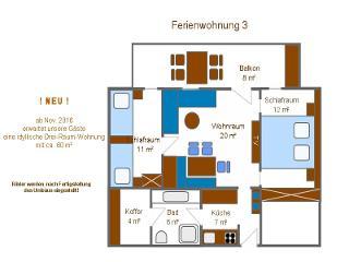 Grundriss der neuen idyllischen Drei-Raum-Wohnung Nr. 3