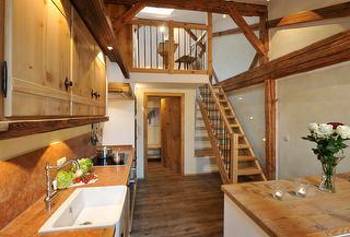 5 Sterne Ferienwohnung Bär, Wohnraum, Küche, Ferienwohnungen Bayern