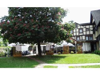 Außenansicht mit Terrasse und Garten / Urheber: Landhotel Combecher / Rechteinhaber: © Landhotel Combecher